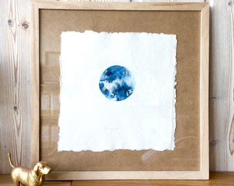 """Original Art """"Full Moon"""" -  Watercolour painting with gold leaf highlights in wood frame"""