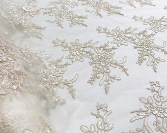 Laylani Lace Fabric in Ivory - Gorgeous Fabric With Floral Embroidery Throughout - Best for Weddings, Bridal Parties, and Events