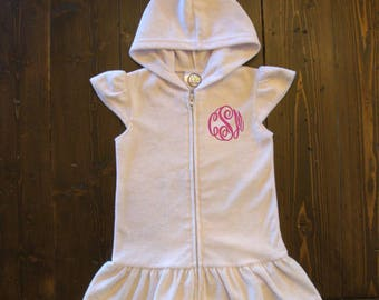 Monogrammed Girls Hooded Swim Cover Up