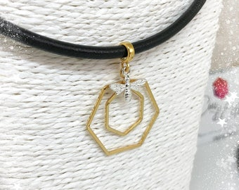 Hexagons necklace gold and silver