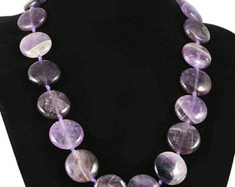 Purple Amethyst Necklace, Amethyst Disc Necklace, Amethyst Coin, Gemstone Necklace, Semiprecious Necklace, Amethyst Jewelry, UK Seller