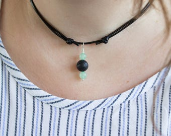 Green Aventurine Essential Oil Necklace, Aromatherapy Lava Rock Gemstones, Crystal Pendant Diffuser, Long / Choker Necklace - #02AN-07-003