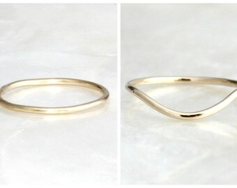 1mm Sterling Silver or Solid 14kt Gold Straight or Curved Band - Stack or Wedding Ring - Eco Friendly & Recycled