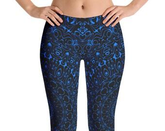 Azure Yoga Pants, Black Leggings with Blue Mandala Designs for Women, Printed Leggings, Pattern Yoga Tights