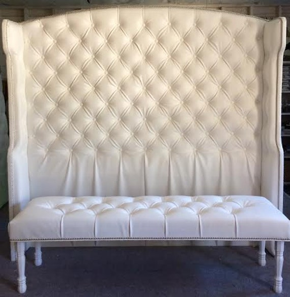 Wonderful Diamond Tufted Slightly Arched Wingback Headboard And Bench Set (King,  Extra Tall)