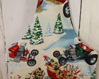 Santa's Hot Rod Christmas (2) Knitting Tote Bag, Medium Wrist Tote, Knitting Tote, Knitting Wristlet, Wrist Tote WTM0028