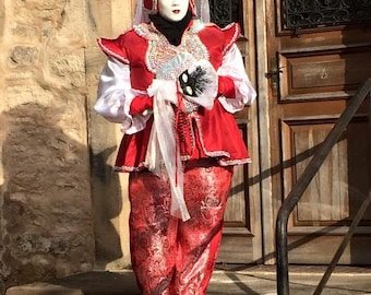 Red and silver Venetian costumes, unique design, made for Venice, comes w mask.