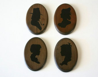 Vintage Silouette Family Portraits, Silouette, Wood,Wall decor