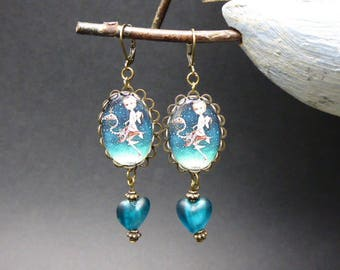 Earring dream blue green glass Center and cabochon *.
