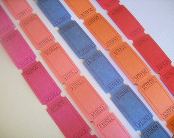 Carnival Tickets, 100 blank tickets for Stamping and Scrapbooking