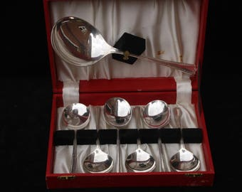 Roberts & Dore | Silver Plated | Dessert Spoon Set | Fruit Spoon Set | Six Spoons plus a Serving Spoon | All in a good box