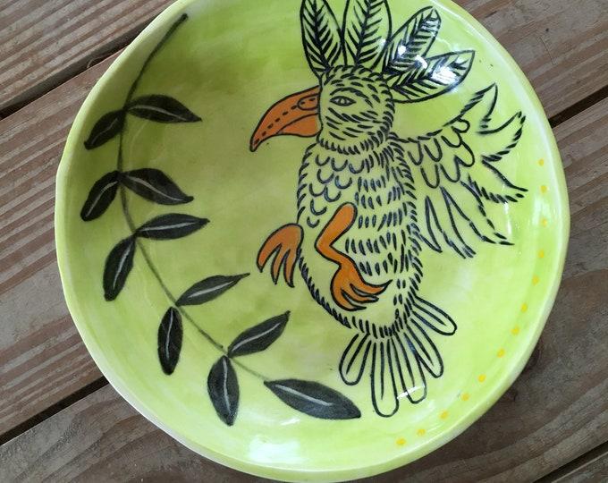 Parrot ceramic bowl, lime green, slab built pottery