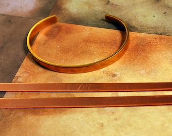 """1/4"""" Solid Copper Cuff Bracelet Blank  Qty: 2  - Free Shipping US"""