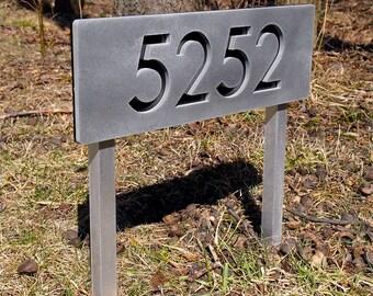 Custom Modern House Numbers Horizontal Aluminum Ground Stakes