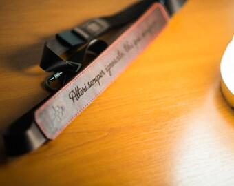 Sling laser ENGRAVED Leather and Felt Camera Strap - Brown Leather