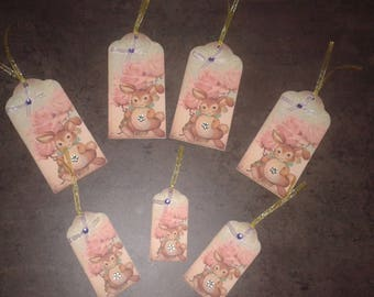 set of 7 tags with Easter rabbits