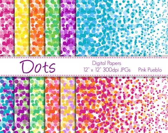 Digital Papers Printable Papers Scrapbook Papers - Dots or Confetti - Commercial and Personal Use