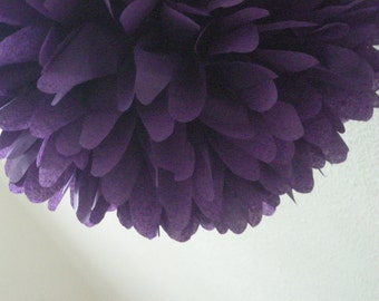 ROYAL PURPLE tissue paper pompom wedding reception chair decorations sofia first birthday party baby bridal shower dirty thirty bachelorette
