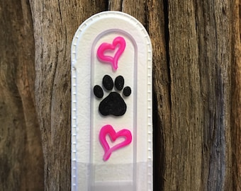 Crystal Glass Nail File - Handpainted Paw Print and Hearts on Czech Crystal Glass
