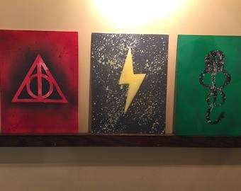 Harry Potter Spray paint triptic