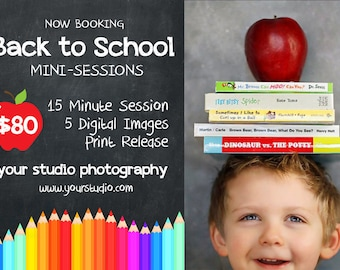BACK TO SCHOOL Mini Session 5x7 Photoshop Template for Photographers