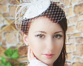 Bridal Mini Hat - Fascinator - Bridal fascinator - Wedding hat - Wedding birdcage veil - White birdcage veil - Fascinator White