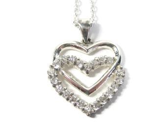 Vintage Sterling Heart Pendant Necklace Cubic Zirconia