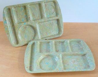 Vintage Prolon Ware Lunch Trays • Set of 2 Melamine Cafeteria Trays • Mid Century Melmac Confetti Marbleized Green Trays