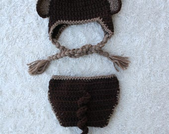 Monkey Crochet Hat and Diaper Cover Set - curly or long tail