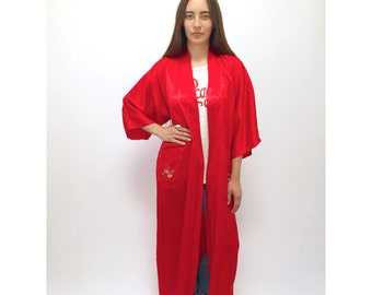 Alone in Kyoto Kimono // vintage dress festival boho hippie ethnic blouse tunic hand embroidered red robe floral 70s 1970s // O/S