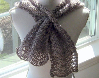 Gift For Her, Womens Scarf, All Season Scarf, Fashion Scarf, Trendy Scarf, Taupe Scarf, Keyhole Scarf, Taupe Keyhole Scarf