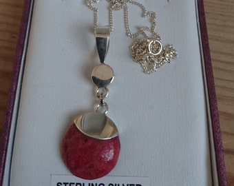 Sterling silver red jasper pendant and chain