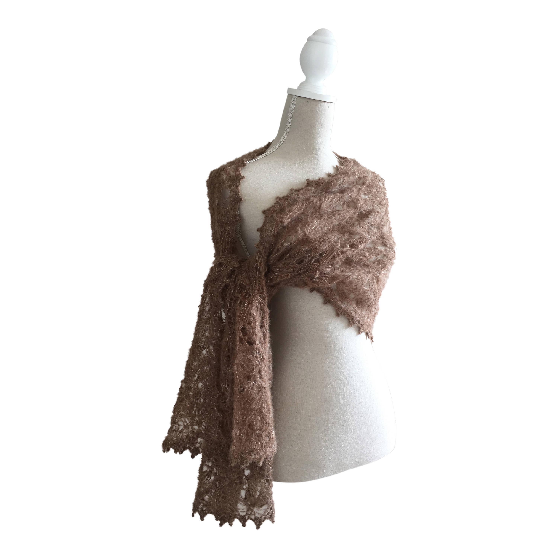 Braune handgestrickte Spitze Alpaka Seide Schal für Frauen