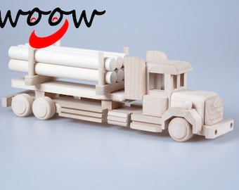 Wooden Truck With Tree Bales Toy