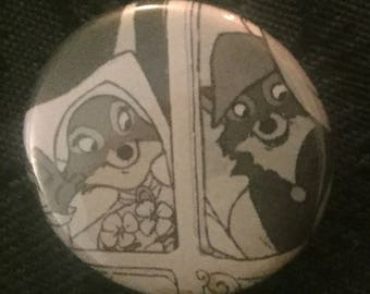 Robin Hood and Maid Marian Wedding Carriage Button