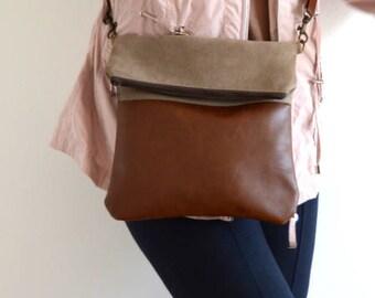 Foldover Crossbody Bag, Everyday Shoulder Bag, Crossbody Purse, Brown Bag Purse