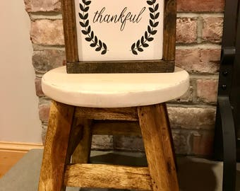 Thankful painted wooden sign 9X9