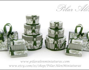 Parcel and Hat boxes for Dollhouse. 12th Scale. Green Toile Jouy. One inch scale.