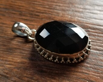 925 Sterling Silver Faceted Black Onyx Pendant