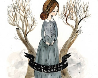 Jane Eyre. Watercolor print.