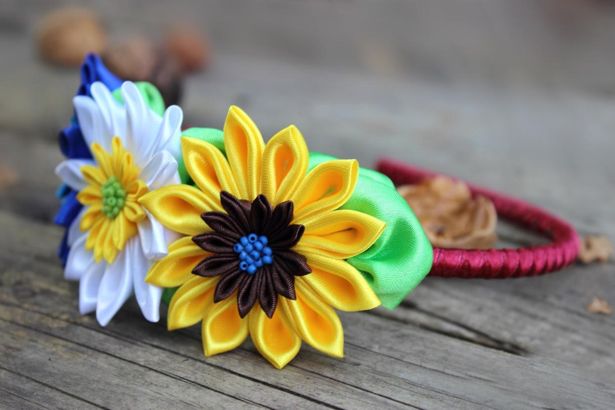 Colorful Headband With Flower Kanzashi Flower Headband For
