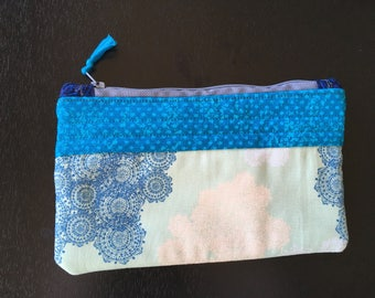 paisley and polk-a-dots zippered pouch