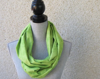 Fabric scarf, Infinity scarf, tube scarf, eternity scarf, loop scarf, long scarf in a green cotton fabric