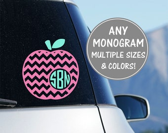 Apple Monogram Car Decal, Teacher Monogram Decal, Apple Teacher Decal Teacher Gift Personalized Teacher Gifts Teacher Decal for Car Window