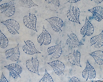 Leaf print cotton block print fabric Indigo fabric by the yard