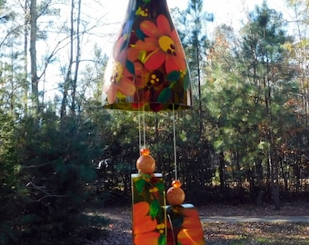 """Wind Chime, """"Pumpkin Pie"""", made from recycled wine bottle -  fashioned  into a Wine-Chime!"""