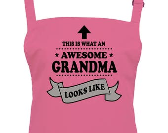 This is What An Awesome Grandma Looks Like- Top Granny Women's  Kitchen Chefs Apron From FatCuckoo  AA1767
