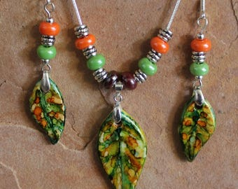 Ceramic Leaf Necklace and Dangle Earrings Set Painted with Alcohol Inks // Gift for Her // One of a Kind Handmade Jewelry