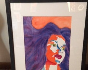 """Original Water Color Painting by D. Capel, Matted & Framed, """"Vamp of Savanah""""  Free shipping"""