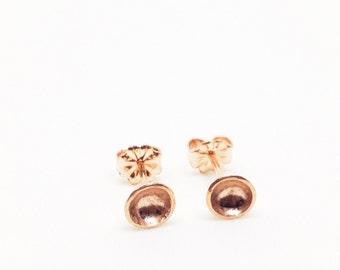 18K Rose Gold Vermeil Darling MINI Bowl Studs- Sterling Silver